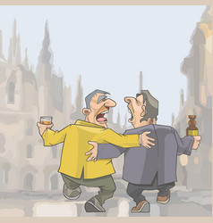 Cartoon two drunken singing men walking around vector
