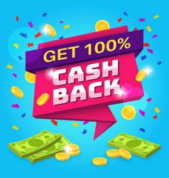 Cashback concept money refund label retail vector