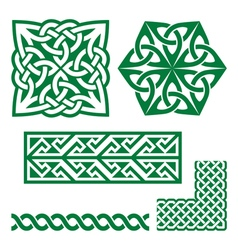 Celtic Irish green patterns and knots - St vector