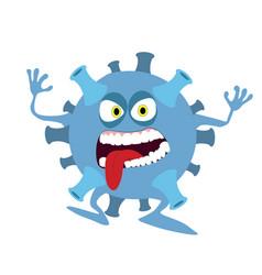 Character funny coronavirus molecula microbe vector