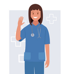 character is a female doctor waving her hand vector image