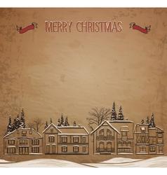 christmas landscape european houses in winter vector image