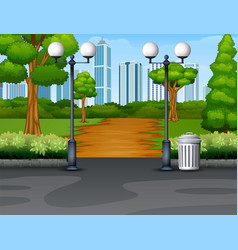 city park background with footpath and lantern vector image