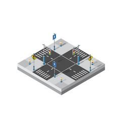 City street intersection isometric vector