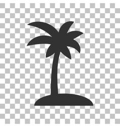 Coconut palm tree sign dark gray icon on vector