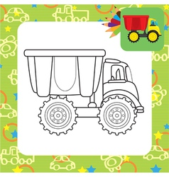 Colorful dump truck toy for coloring vector