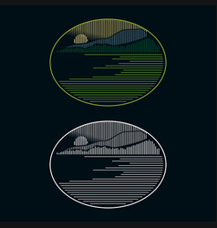 Creative logo design line art natural scenery vector