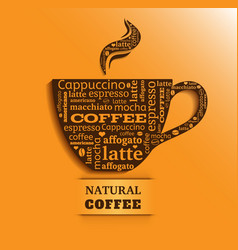 Cup of coffee with word cloud on orange background vector
