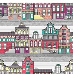 Cute Amsterdam houses seamless pattern vector