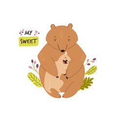 cute brown bears family bacartoon design vector image