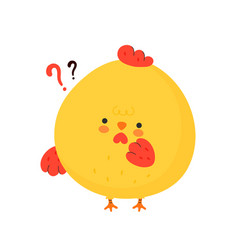 Cute funny chicken cock with question mark vector