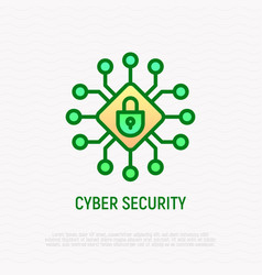 cyber security thin line icon vector image