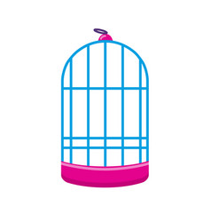 cylindrical bird cage icon in flat style vector image