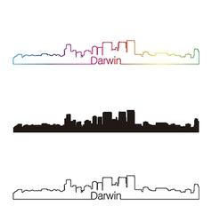 Darwin skyline linear style with rainbow vector
