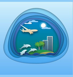 dolphins in sea aircraft in the sky resort with vector image