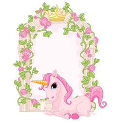 Fairy tale frame with unicorn vector image