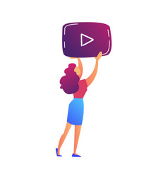 female video blogger holding video player icon vector image