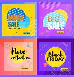 flat banner mega sale up to 50 percent big sale vector image