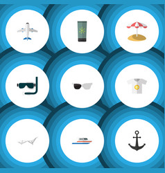 flat icon summer set of clothes scuba diving vector image