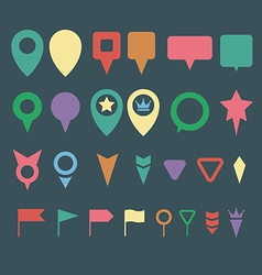 Flat map pins vector