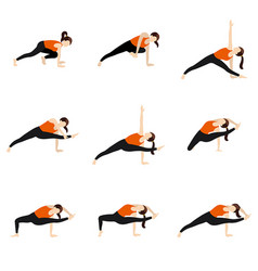 goddess pose variations yoga asanas set royalty free vector