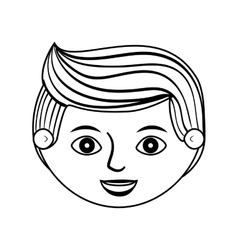 front face man silhouette with hairstyle vector image