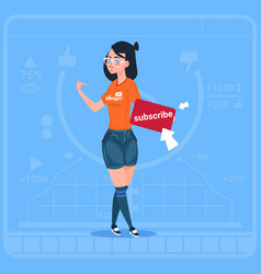 Girl subscribe modern video blogger vlog creator vector