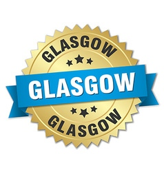 Glasgow round golden badge with blue ribbon vector