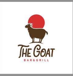goat logo standing animal cartoon vector image