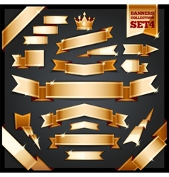 Golden Ribbons Banners Collection Set4 vector