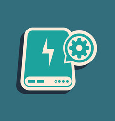 Green power bank and gear icon isolated on blue vector