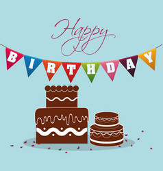 happy birthday chocolate cake pennant festive vector image