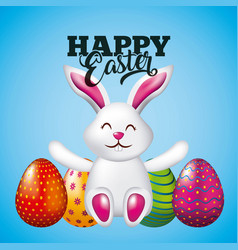 happy easter card cute bunny sitting and bright vector image