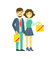 Happy family couple with shopping bags family vector