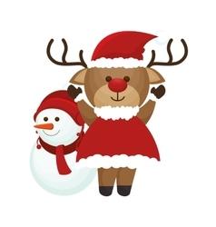 happy merry christmas reindeer card vector image