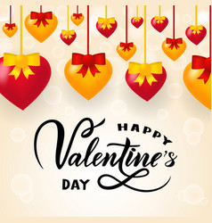 happy valentines day on pink background realistic vector image