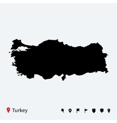 High detailed map of Turkey with navigation pins vector