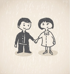 In loveBoy and girl holding hands vector image