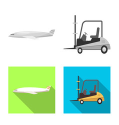 isolated object goods and cargo icon set of vector image