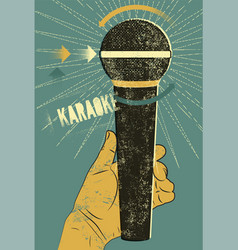 Karaoke typographic vintage grunge poster vector