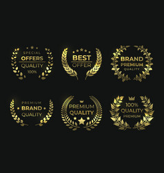 laurel quality labels golden luxury badge sale vector image