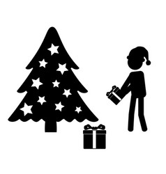 man in santa hat giving gift near christmas tree vector image vector image