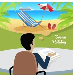 Man Sitting on Chair Dreaming About Good Rest vector