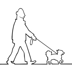 man walking the dog vector image vector image