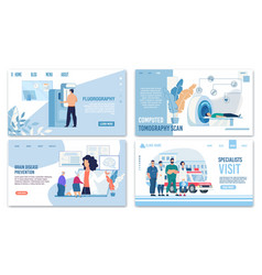Medical insurance and healthcare landing page set vector