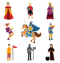 medieval characters in the historical costumes of vector image
