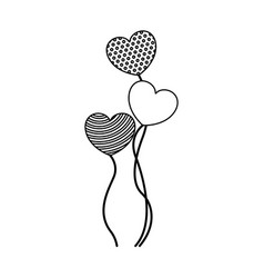 Monochrome silhouette of set of group balloons in vector