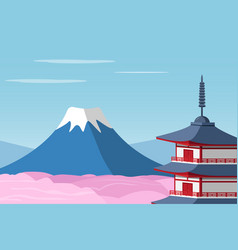 mount fuji and arakura sengen jinja shinto shrine vector image