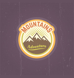 mountains vintage round colored emblem vector image