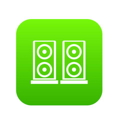 music speakers icon digital green vector image